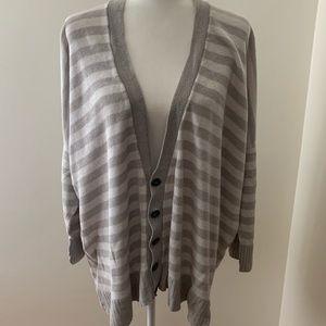 Eskandar Striped V Neck Linen Cardigan- Long